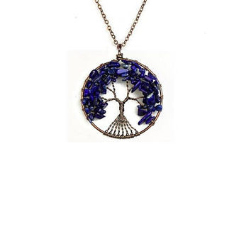 Lapis Lazuli  Tree of Life Pendant , Copper  Wire  Wrapped ,  Genuine Lapis Lazuli  Gemstones ,  Round Pendant Necklace