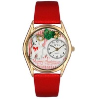 SheilaShrubs.com: Women's Christmas Puppy Red Leather Watch C-1221010 by Whimsical Watches: Watches