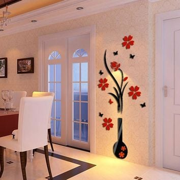 3D wall sticker acrylic DIY Vase Flower Tree Crystal Acrylic Wall Stickers Decal Home Decor wall decorations living room window