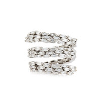 Suzanne Kalan Fireworks Baguette Diamond Spiral Ring in 18k White Gold, Size 6.5