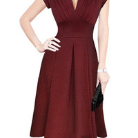 Wine Red Retro V-Neck Short Sleeve Mini Dress