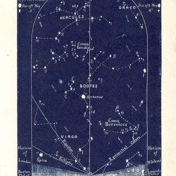 1883 Constellations Stars Chart, August Sky, Original Antique Celestial Maps Northern Sky,  Set of Four Celestial Maps