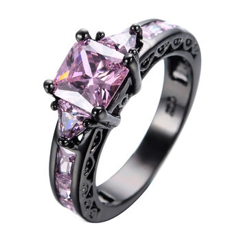 Vintage Princess Cut Pink Stone Jewelry Women Wedding Ring Anel Aneis 10KT Black Gold Filled Engagement Rings Sz5-11 RB0024