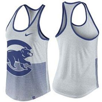 Women's Chicago Cubs Nike Birch Heat Dri-Blend Logo 1.7 Racerback Tank Top
