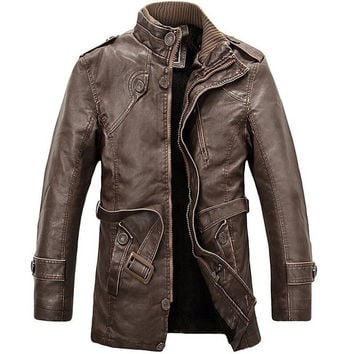 Brand New PU Leather Jacket Men Long Wool Leather Standing Collar Jackets Coat Men Leather Jackets With Outwear Trench Parka