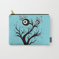 Excited Tree Monster Ink Drawing Carry-All Pouch by borianagiormova