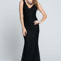 Here To Wow Shimmer Black Lace Maxi Dress