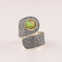 Ethiopian Opal Sterling Silver Two Tone Adjustable Wrap Ring