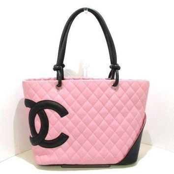 Auth CHANEL Cambon Line Large Tote Pink Black Lambskin Tote Bag