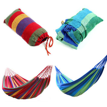 High Quality Portable Outdoor Garden Hammock Hang BED Travel Camping Swing Canvas Stripe NVIE