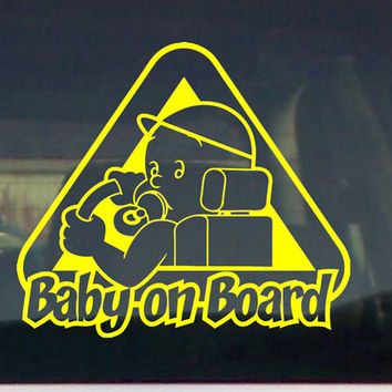 Baby on Board Car truck window bumper graphic family VINYL DECAL STICKER warning pregnant shower gift idea boy girl