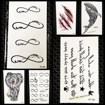Hot Fake Infinity Pattern Temporary Tattoo Sticker For Men Women Neck Hand Tatoo Waterproof Body Art Fake Tattoo Stickers GAQ086