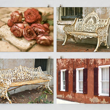 French Country Photography Set, Romantic Photography, Rustic Photography, Roses, Windows, Benches, Red, Beige, Shabby Chic Art, Cottage Art