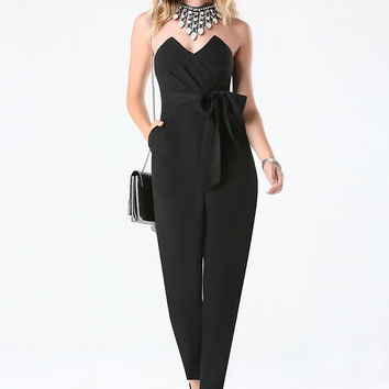 bebe Womens Natalie Strapless Jumpsuit