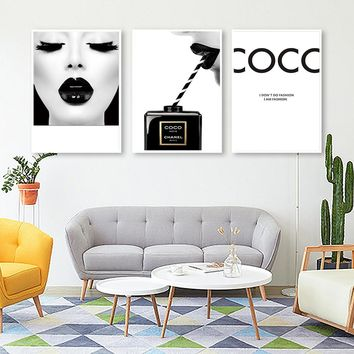 Cuadros COCO Make Up Woman Wall art Modern Nordic Canvas Painting Posters and Prints Modular Picture For Living Room Decoration