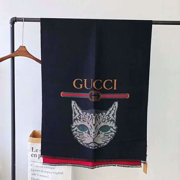 GUCCI Newest Fashionable Personality Cat Head Pattern Cashmere Cape Scarf Scarves Shawl Accessories