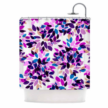"Ebi Emporium ""Dahlia Dots 3"" Pink Purple Shower Curtain"