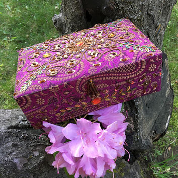 Purple Beaded Fabric Jewelry Box Vintage Indian Ethnic Style Trinket Card Container Ornate Handmade Brocade Box Asian Floral Home Decor