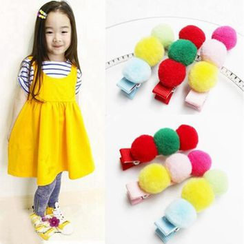 3 Pcs/Set Candy Colored Pom Balls Hair Clips Kids Hair Grips Children Hair Accessories