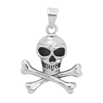 Inox Jewelry 316 Stainless Steel Pile of Bones Skull Pendant