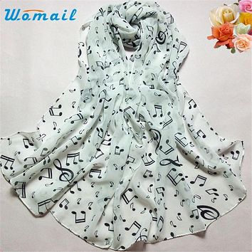 Womail The most 1PC Women Lady Musical Note Chiffon Neck Scarf Shawl Muffler Scarves Bandana Hijab Cachecol Scarf women Foulard