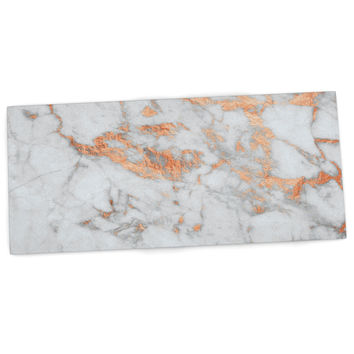 "KESS Original ""Rose Gold Flake"" White Pink Desk Mat"