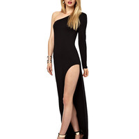 Black One Shoulder Long Sleeve Evening Dress with High Slit