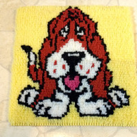 Vintage Basset Hound Dog latch hook rug wall hanging tapestry puppy picture art Collectible Home Decor Toy Game Room kids bedroom