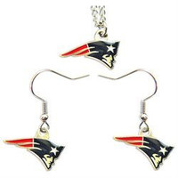NFL New England Patriots Necklace And Dangle Earring Charm Set