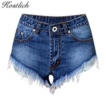 Kostlich Hoge Taille Jeans Shorts Denim Hot Sale Women Cutting Edge Feathering Bleached Jeans Woman Shorts Sexy Women Clothing