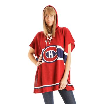 Montreal Canadiens NHL Stylish Knitted Cowl Hood Poncho (One Size Fits Most)