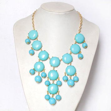 Turquoise necklace j crew bubble necklace bib necklace statement necklace bridesmaid necklace bubble statement necklace