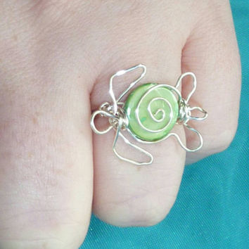 Turtle Ring, Sea Turtle Ring, Shell Ring, Green Turtle Ring, Wire Wrapped Turtle Ring, Hawaiian Tribal Jewelry, Polynesian Turtle Jewelry
