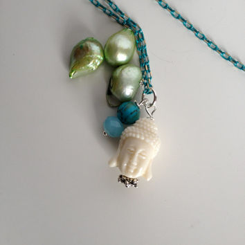 Long Light Necklace with Buddha, Turquoise & Pearls Pendant