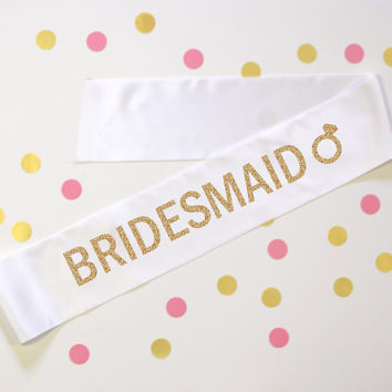 Bridesmaid Diamond Ring White Sash