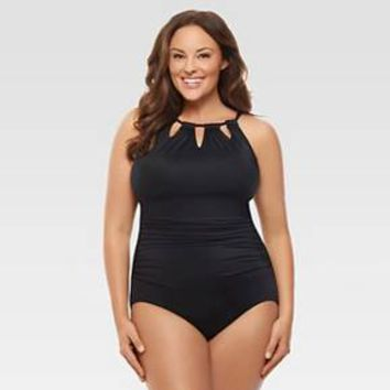 Women's Plus Size Slimming Control High Neck One Piece Swimsuit Black - Dreamsuit® by Miracle Brands™