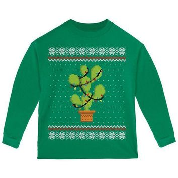 PEAPGQ9 Cactus Prickly Pear Tree Ugly Christmas Sweater Toddler Long Sleeve T Shirt