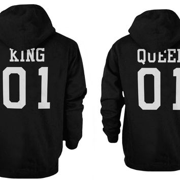 King 01 and Queen 01 Back Print Couple Matching Hoodies Cute Outfit