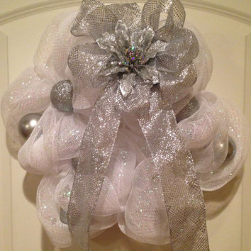 White and Silver Mesh Wreath