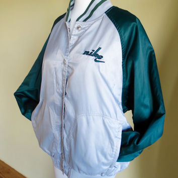 Vintage NIKE Satin Baseball Bomber Jacket Silver Green Women's Large 12-14