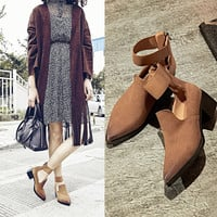 Summer Pointed Toe Ring Leather Shoes [4920406916]