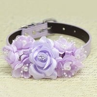 Lavender flowers dog collar, handmade flower with Peals, Wedding pets accessory, Puppy Love