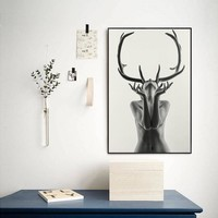 Nordic Vintage Photo Nude Deer Female Wall Art Canvas Painting Picture HD Printing Canvas Poster Home Decoration For Living Room