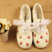 Hand-painted shoes, cute watermelon pattern lace shoelaces