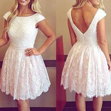 Lace White Homecoming Dresses with Pearl