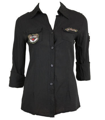 Black Air Force Military Shirt - Clothing - desireclothing.co.uk