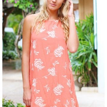 Coral halter neck dress with embroidered floral detail | Kourtney | escloset.com