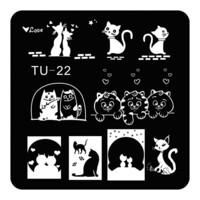 Square Manicure Template Nail Art Stamping Plate Nail Stamp Cute Cats Design DIY Image Plate TU-022