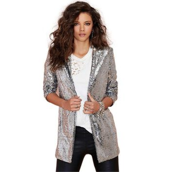 Silver Sequined Long Sleeve Cardigan Jackets