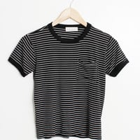 Stripe Pocket Ringer Tee